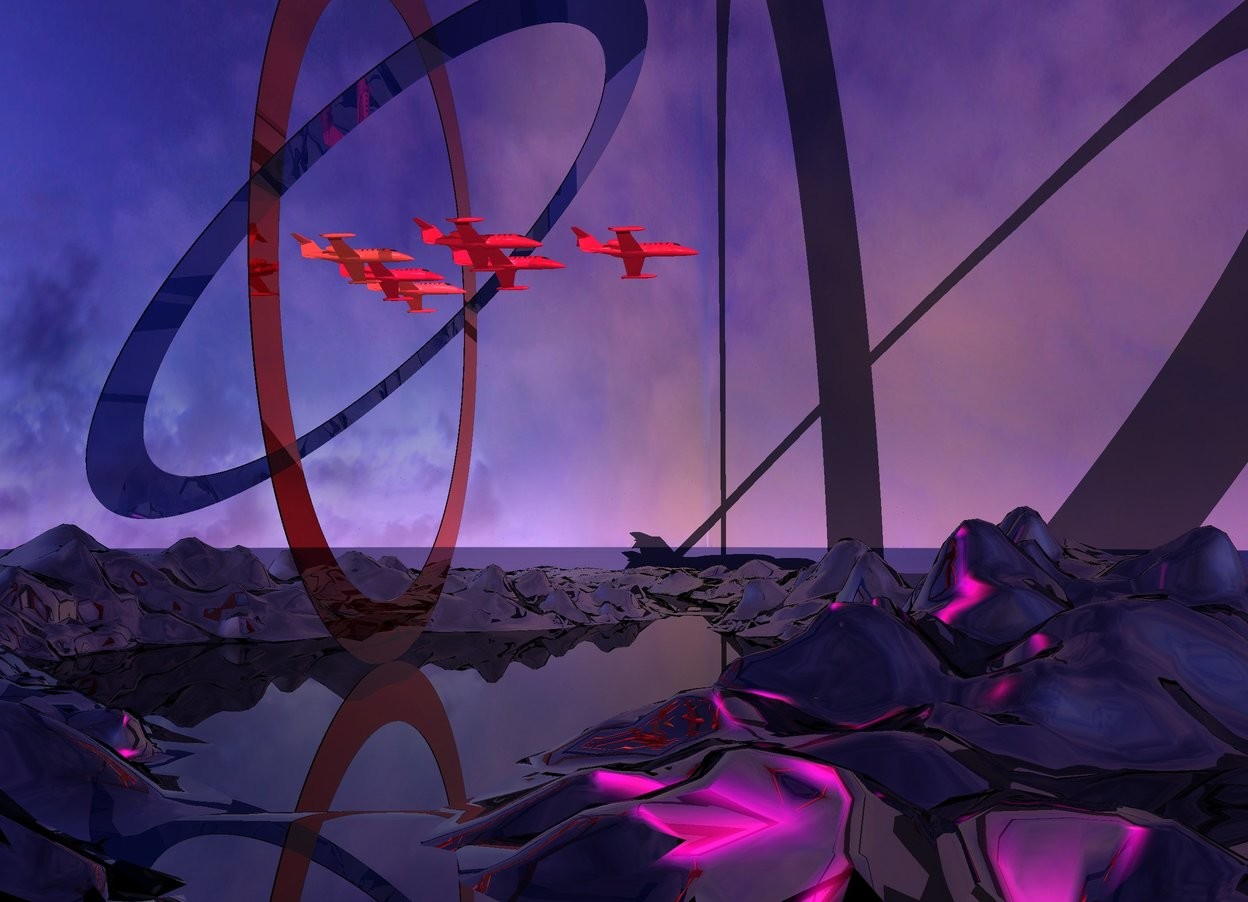 Input text: A 500 feet long clear red tube is leaning 90 degrees to the back. A 500 feet long clear Royal blue tube is 400 feet in the tube. It is leaning 45 degrees to the back. The ground is shiny black. The sun is pink. A large 60% dark crimson plane is 200 feet in the tube. It is leaning 20 degrees to the left. A large 60% dark scarlet plane is 10 feet left of the plane. It is leaning 20 degrees to the left. A large 60% dark scarlet plane is 70 feet right of the plane. It is leaning 20 degrees to the left. A large 60% dark crimson plane is 10 feet in front of and 30 feet left of the plane. It is leaning 20 degrees to the left. A large 60% dark crimson plane is 10 feet left of the plane. It is leaning 20 degrees to the left. A large 60% dark crimson plane is 10 feet in front of and -25 feet right of the plane. It is leaning 20 degrees to the left. Camera light is cream. 8 purple lights are below and 20 feet in front of the plane. A red light is 20 feet in front of the lights. Ambient light is lilac.