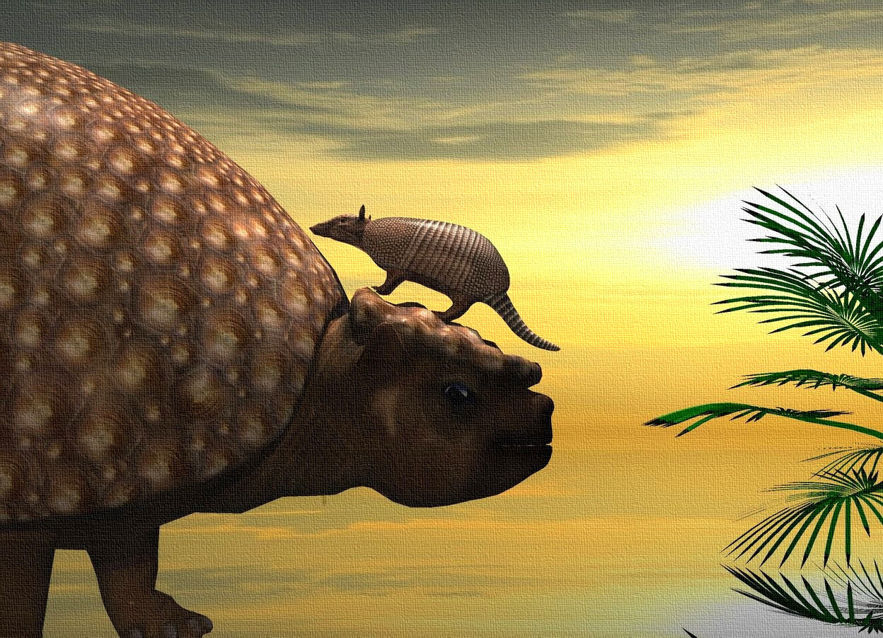 Input text: a dinosaur is  facing back. an armadillo is -1.85 feet behind and -2.55 feet above the dinosaur. it is leaning 24 degrees to the back. a silver light is -1 feet in front of the dinosaur. the ground is clear.   a pink light is 5 feet to the left of the dinosaur. a dim lavender light is 6 feet to the right of the armadillo. the camera light is black. a beige rose light is 1 foot above the armadillo. it is noon. the sky is 2800 foot tall [cloud]. a palm is 3 feet behind and 10 feet to the left of the dinosaur. a dim lemon light is 5 feet to the right of and below the armadillo.