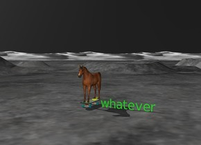 "A horse is on a large [feltworm] skateboard one foot next to a lime green ""whatever"" with a black sky"