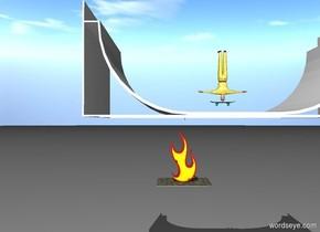 medium skateboard 25 feet above ground. man 0 feet above skateboard. man facing right. man is made of metal. large ramp -10 feet under skateboard. ramp facing right. man is upside down. ramp is white. gigantic flame on floor. flame facing right. flame -100 feet left of ramp. flame 1 foot above skateboard