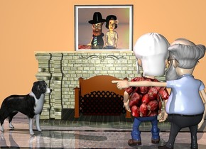 a 5 foot tall brick fireplace. a 20 foot tall 50% linen wall is behind the fireplace. a 4 foot tall and 5 foot wide [honeymoon] painting is on the wall. it is above the fireplace. the ground is wood. a professor is 3 feet in front of and -4 feet to the right of the fireplace. the professor is facing back. the professor's beard is white. the professor's hair is white. the professor's mustache is white. a 5.5 foot tall boy is -1 foot behind and -3 feet to the left of the professor. he is facing back. a 2.2 foot tall white head of hair is facing back. it is -1.9 feet above and -1.9 feet to the right of the boy. the boy's shirt is [texture]. the professor's shirt is ink blue. a dog is in front of and -2 feet to the left of the fireplace.  the dog is facing the professor. the sun is antique mauve. a dim old gold light is in front of the painting. a dim lavender light is 4 feet behind the boy.