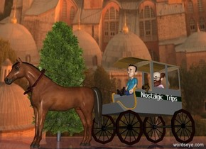 "a carriage.a boy is -6 feet in front of the carriage.the boy is 6.9 feet above the ground.a 10 feet tall horse is in front of the carriage.a man is -6 feet above the carriage.the man is -7 feet behind the carriage.the carriage's frame is wood.a 12 feet tall tube is -3 feet above the horse.the tube is face up.the tube is 0.5 inches wide.the tube is in front of the boy.the tube is brown.the tube is leaning 10 degrees to the north.a brown libra is -4 feet above the horse.the libra is leaning 30 degrees to the north.the libra is 3.5 feet tall.the libra is -4.5 feet in front of the horse.the small words""Nostalgic Trips"" is right of the carriage.the ""Nostalgic Trips"" is facing right.the ""Nostalgic Trips"" is 6.1 feet above the ground.a tree is 20 feet left of the carriage.the sky is [church].the ground is shiny.the ground is [abstract].the sun is old gold."