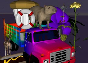 huge capybara on a rainbow truck. in space. a 60 inch wide life preserver is next to the capybara. there are 10 200 inch tall flowers to the right of the truck. There is a 100 inch tall muffin behind the capybara. There is a small giraffe to the left of the truck. there is a 100 inch wide hotdog in front of the giraffe.