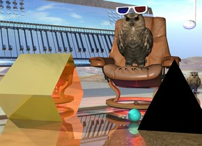 100 inch tall owl on a giant armchair. the armchair is 10 inches above the ground. There is a red hat -10 inches above the owl. There is a 50 inch wide pair of sunglasses. they are -40 inches in front of and -8 inches above the owl.The owl is facing south. there is a 80 inch tall white glass electric keyboard -100 inch to the left of the owl and 20 inches behind the owl. the electric keyboard faces southeast. it leans 60 degrees to the front. the 100 inch tall black pyramid is -20 inches above and 50 inches to the front of and 15 inches to the right of the owl. there is a red light 20 inches above the owl. there is a blue light 10 inches behind and 10 inches to the left of the owl. there is a 20 inch tall turquoise sphere to the left of the pyramid. There is a 100 inch tall golden cube 100 inches to the left of the sphere. The cube leans 40 degrees to the front. The cube is -30 inches above the ground. There is a laser in front of the giant owl. the ground is shiny. there is a giant musical note behind the armchair. it is 10 inches to the right of the armchair. it is -30 inches above the armchair.