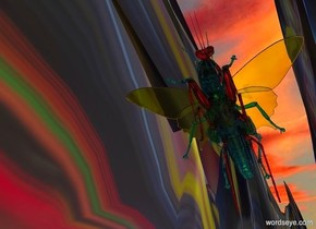 a first clear red insect.a second clear cyan insect is -3 inches above the first insect.a third clear yellow insect is -2.5 inches above the first insect.the ground is [abstract].the ground is 150 feet wide.the first insect is 10 feet above the ground.[cloud]sky.