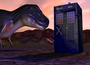 "A 6 feet high and 3 feet wide and 3 feet deep blue cube is 14 feet wide [telephone]. It is on the ground. The ground is 60% dark. The sun is pink. A 55% dark dinosaur is 3 feet in front of and -14 feet above  the cube. An invisible ball is 7 feet left of the cube. The dinosaur is facing the ball. It is leaning 12 degrees to the front. Camera light is cream. A light is right of the dinosaur. A blue light is on the cube. A wide royal blue lantern is on the cube. A blue light is right of and above the lantern. A tiny navy window is right of and -2.5 feet above and -1.3 foot in front of the cube. It is facing east. A tiny navy window is right of and -2.5 feet above and -1.3 foot behind the cube. It is facing east. A 5.3 feet high and 1 inch wide flat black rectangle is right of the cube. A 3 feet wide flat black rectangle is on the rectangle. It is facing east. A huge shiny [yellow] wall is 30 feet right of the cube. It is facing east. A very tiny flat ""POLICE"" is right of and -6 inches above and -1.2 feet in front of the cube. It is facing east. A very tiny flat ""BOX"" is right of and -6 inches above and -1.1 feet behind the cube. It is facing east. An 8 inch wide 30% dark sheet is right of and -3.7 feet above and -1 feet in front of the cube. It is facing east. It is leaning 90 degrees to the back. It is [sign]. A 2 inch wide texture circle is 7 inches behind and -4 inches above the sheet. It is leaning 90 degrees to the back. It is facing east."