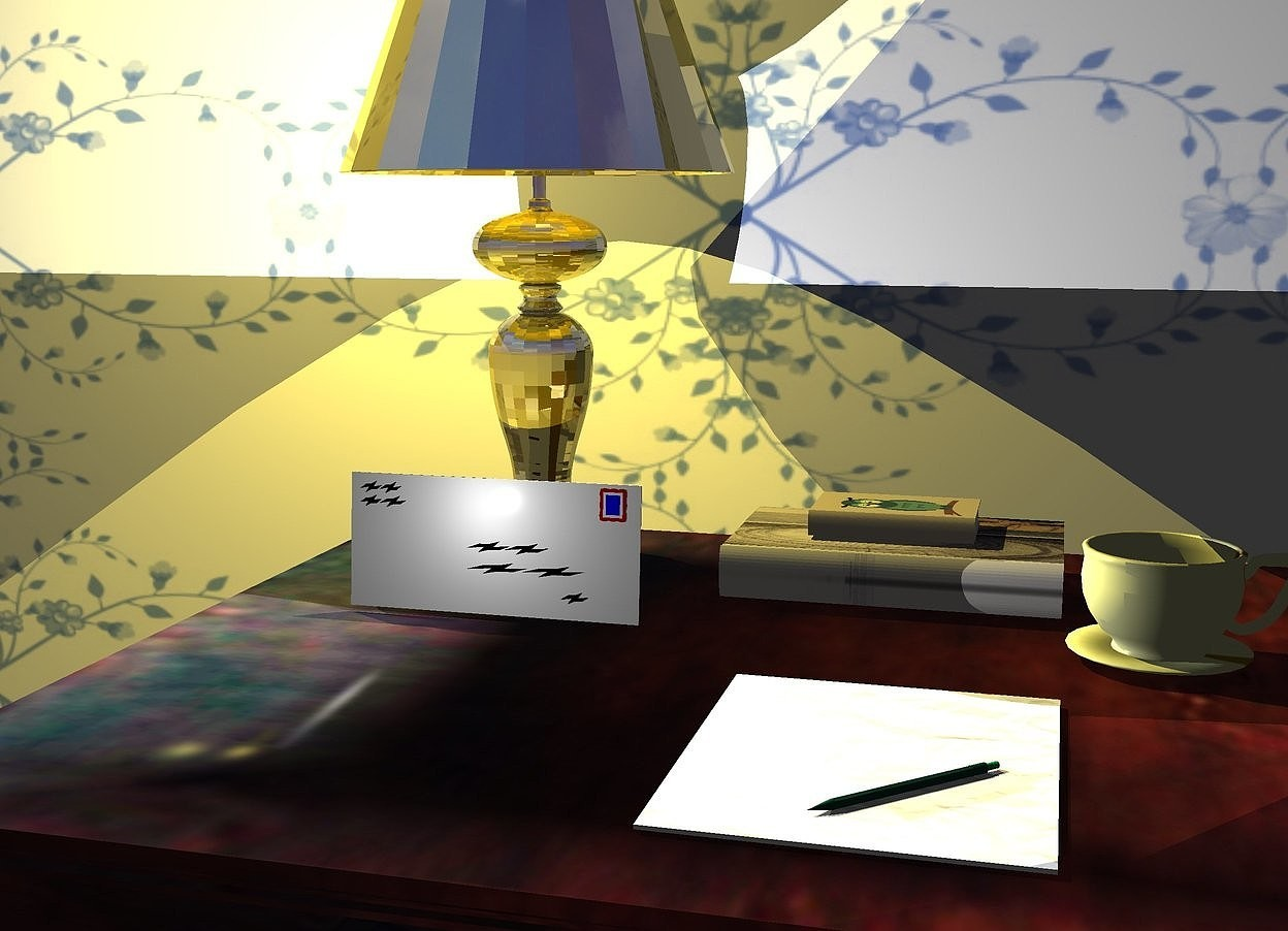 Input text: a 6 foot wide and 3 foot deep table. a gold lamp is above and -1.5 foot behind and -1.5 foot to the left of the table.  an ink blue [pattern] wall is behind the table. the camera light is black.  2 80% lemon lights are -.8 feet above the lamp. the sun is gold.   an .4 foot tall envelope is -.2 foot in front of the lamp. a tiny light is in front of and -.2 foot above the envelope. the envelope leans 5 degrees to the back. a sheet of paper is on and -1.3 foot in front of and -2.5 foot to the left of the table. a pen is facing northeast. it is -.5 foot in front of and -.5 foot to the right of the sheet of paper. it is leaning 90 degrees to the front.   a .3 foot tall [texture] cup is .2 foot behind and to the right of the sheet of paper. a [artist] book is behind and to the left of the cup. it is facing right. it is leaning 90 degrees to the back.a small [fantasy] book is over the book. it is facing right. it is leaning 90 degrees to the back.