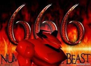 a 80 inch tall fire orange devil.the devil is 50 inch deep and 60 inch wide.the devil leans 20 degrees to the front.a 190 inch wide and 170 inch tall [666] wall is 50 inch behind the devil.ground is clear.the devil is facing southeast.