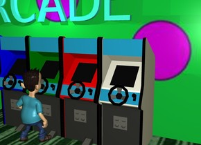 "a video game. a red video game is next to the video game. a green video game is next to the video game. a blue video game is next to the video game. a  huge pattern wall is 1 inch north of the video game. the ground is pattern. A big turquoise ""ARCADE"" is 1 foot above the red video game. it is -1 inch south of the wall. a bright turquoise light is .3 inches south of ""ARCADE"". another bright turquoise light is 2 feet east of the turquoise light. a boy is -5 inch south of the green video game. he is facing north. it is evening."