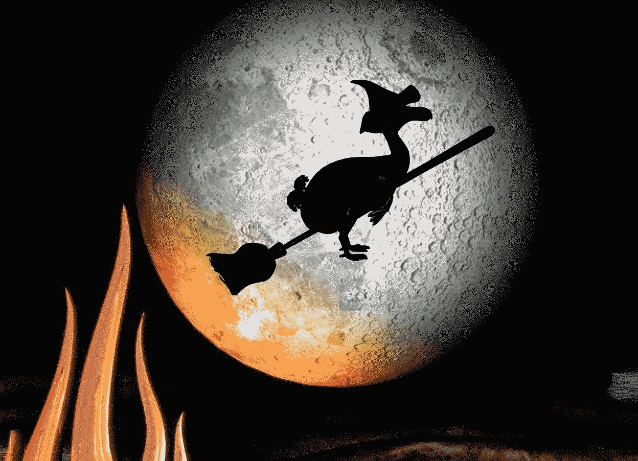 Input text: a 400 feet tall white moon is 150 feet above the ground. a 20 feet tall black broom is 500 feet in front of the moon. it leans 60 degrees to the left. a solid black 10 feet tall dodo is -10 feet above the broom. it is facing right. a 3.5 feet tall black hat is -2.1 feet above and -5.2 feet right of the dodo. it is facing right. it is night. a 400 feet tall shiny orange fire is -600 feet above and -50 feet left of and -300 feet in front of the moon.  a orange light is in front of the fire.