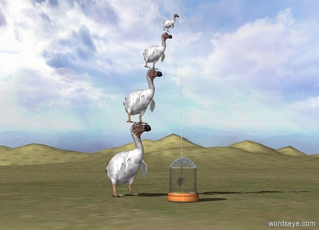 Input text: The grass ground. The second dodo is -2 inch above and -14 inches in front of the first dodo. It is leaning 10 degrees to the front. It is 1.5 feet tall. The third dodo is -4 inches above and -10 inches in front of the second dodo. It is 1 foot tall. It is leaning 20 degrees to the front. The fourth dodo is -4 inches above and -5 inches in front of the third dodo. It is 6 inches tall. It is leaning 30 degrees to the front. The jar is 9 inches in front of the first dodo.   The sun symbol is 10 inches in the jar. It is 6 inches tall. A symbol is 13 inches in front of the first dodo. It is 7 inches above the ground. It is 4 feet tall and .1 inch wide. It is .1 inches deep. It is facing left.