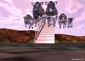 five big glass pigs are on a   long pink staircase.