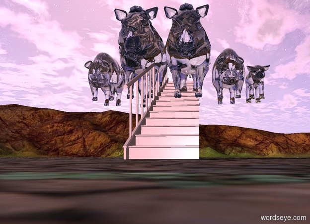 Input text: five big glass pigs are on a   long pink staircase.