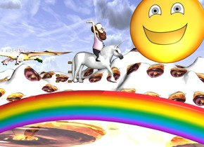 a unicorn. a rainbow. the ground is [chocolate]. [chocolate] is 100 feet long. the unicorn is 1 foot above the rainbow. it is facing west. a man is -3 foot above the unicorn. he is facing west. a hamburger is east of the unicorn. another hamburger is 1 foot above the hamburger. another hamburger is 1 feet above the hamburger. another hamburger is 2 feet east of the unicorn. another hamburger is .5 feet above the hamburger. another hamburger is 1 foot east of the hamburger. a 40 foot tall emoji is 100 feet south of the unicorn. it is 60 feet off the ground. a giant pink dragon is 40 feet east of the emoji. a giant yellow light is 1 inch north of the emoji.