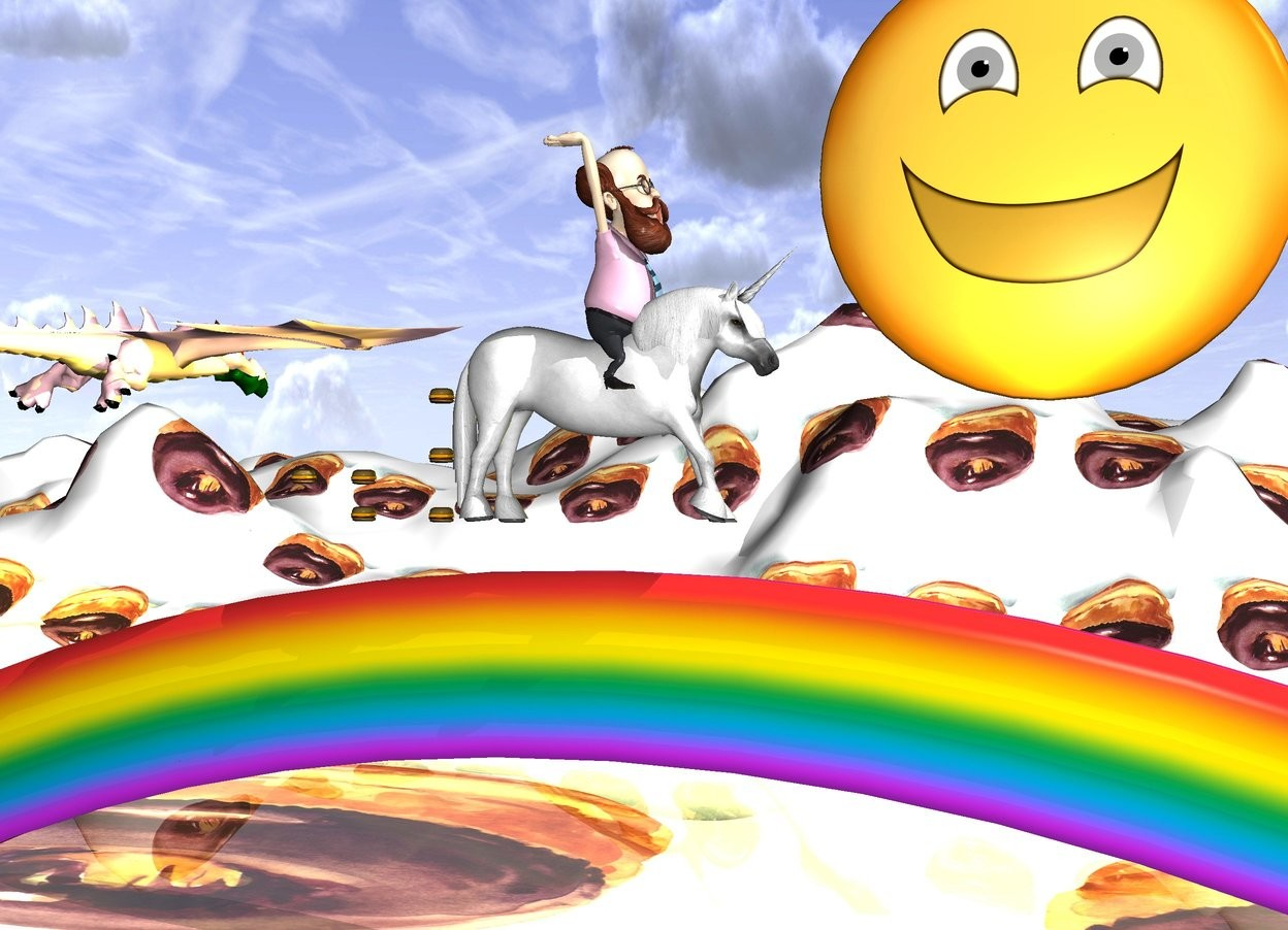 Input text: a unicorn. a rainbow. the ground is [chocolate]. [chocolate] is 100 feet long. the unicorn is 1 foot above the rainbow. it is facing west. a man is -3 foot above the unicorn. he is facing west. a hamburger is east of the unicorn. another hamburger is 1 foot above the hamburger. another hamburger is 1 feet above the hamburger. another hamburger is 2 feet east of the unicorn. another hamburger is .5 feet above the hamburger. another hamburger is 1 foot east of the hamburger. a 40 foot tall emoji is 100 feet south of the unicorn. it is 60 feet off the ground. a giant pink dragon is 40 feet east of the emoji. a giant yellow light is 1 inch north of the emoji.