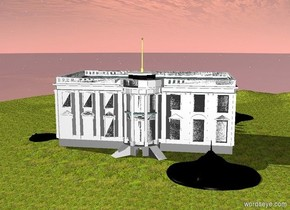 The humongous black ray is -40 feet in front of the White House. It is -40 feet to the right of the White House. It is 5 feet in the ground. The ground is grass. Another enormous black ray is -10 feet to the left of the White House. It is facing left. It is 3 feet in the ground. A third humongous black ray is behind the White House. It is facing back. It is -20 feet to the right of the White House. It is 6 feet in the ground.