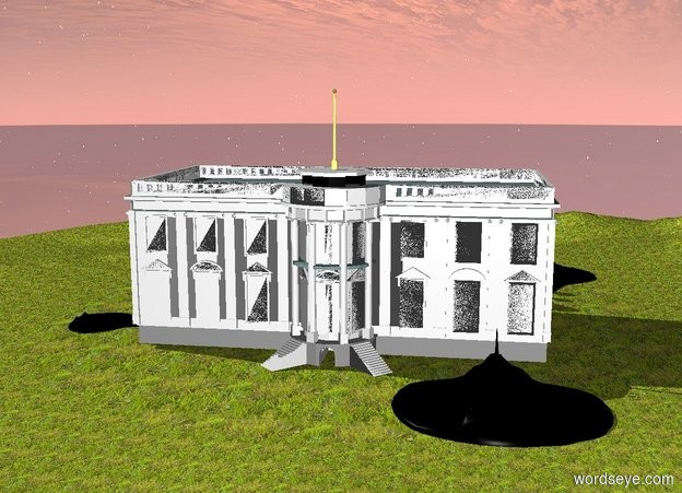 Input text: The humongous black ray is -40 feet in front of the White House. It is -40 feet to the right of the White House. It is 5 feet in the ground. The ground is grass. Another enormous black ray is -10 feet to the left of the White House. It is facing left. It is 3 feet in the ground. A third humongous black ray is behind the White House. It is facing back. It is -20 feet to the right of the White House. It is 6 feet in the ground.