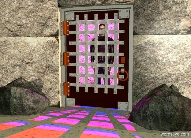Input text: a door.a first 40 feet tall wall is left of the door.a second 40 feet tall wall is right of the door.a 5.2 feet wide wall is above the door.the first wall is rock.the second wall is rock.the 5.2 feet wide wall is rock.a man is 3 inches behind the door.it is dawn.a red light is above the man.a third 40 feet tall wall is 8 feet behind the man.the third wall is rock.the man is shiny black.the ground is rock.a first rock is left of the door.the first rock is in front of the first wall.a second rock is right of the door.the second rock is in front of the wall.a blue light is 2 inches above the red light.