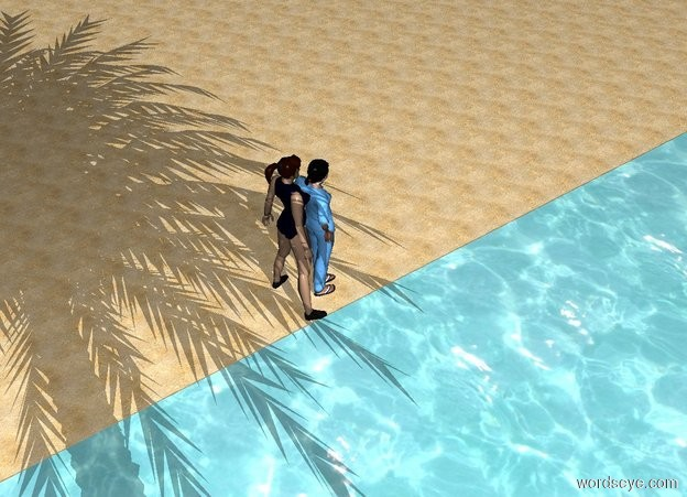 Input text: one woman in front of a woman on the beach. Palm tree in water and woman behind woman. woman in front of woman