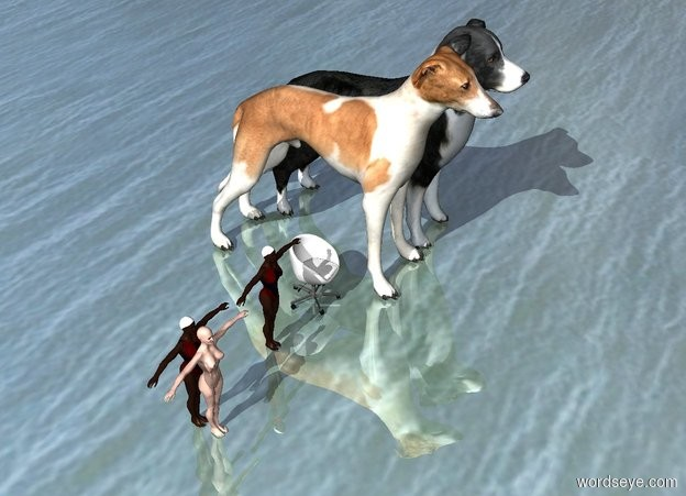 Input text:  women are next to a swimmer. the swimmer is next to a chair. the chair is next to giant dogs