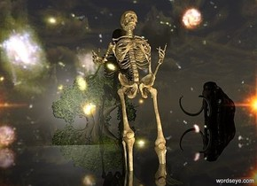 a 40 feet tall skeleton.the skeleton is leaning 37 degrees to the north.the skeleton is 10 feet in the ground.a 60 feet tall wall is behind the skeleton.the wall is 120 feet long.it is dawn.the wall is shiny texture.the texture is 60 feet tall.clear ground.a tree is 30 feet in front of the skeleton.a 30 feet tall mammoth is 15 feet right of the tree.the mammoth is facing northwest.