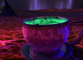 A huge shiny cup is in a jungle. It is leaning 7 degrees to the front. Camera light is black. A light is -1.2 foot above the cup. A dim baby blue light is -1.1 feet above the cup. A scarlet light is 2 inches above the light. A red light is 2 feet left of the light. It is dusk. Ambient light is purple. A scorpion is -7 inches above the cup. It is leaning 50 degrees to the back. A scorpion is left of and -4 inches above the scorpion. The sky is [shadow]. The sun is Royal blue. A huge clear blue pyramid is 2 feet in front of the cup. A huge silver pyramid is right of the pyramid. It is upside down. A humongous dim cyan light is 60 feet behind and 15 feet left of  the cup. 2 huge navy lights are 30 feet above and 30 feet behind the blue light. A 12 feet wide flat shiny black sphere is below the cup. It is on the ground. A huge shiny black pyramid is 14 feet behind and 15 feet left of the cup.