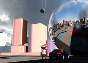 a city block.a man is -71 feet above the city block.the city block is [city].a car is 2 feet left of the man.a 50 feet tall silver sphere is 20 feet in front of the car.a red light is 2 feet in front of the man.  the huge grey spotlight is 12 feet above the man. it is facing back. it is leaning 40 degrees to the front. the first grey tube is above the spotlight. it is 4 feet tall. it is 2 inches deep. a second grey tube is 6 inches to the left of the first tube. it is -7 inches above the spotlight. it is 7 feet tall. it is 2 inches deep. a third light grey tube is 9 inches to the right of the first tube. it is 8 feet tall. it is 2 inches deep. it is -13 inches above the spotlight.