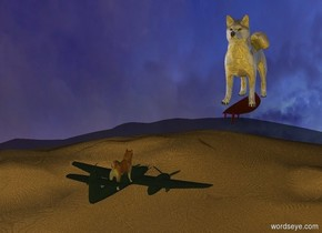 the dog is 600 feet above the [hair] ground. The tiny plane is -3 feet above the dog. The 9.5 foot tall gold dog is 20 feet in front of the dog. The gold dog is facing backwards. The camera light is gold. It is morning. The large red copper surfboard is -11 feet above the gold dog.