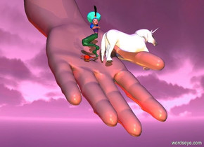 a humongous hand.the hand is leaning 45 degrees to the west.a group is -11 feet left of the hand.the group is 10 feet above the ground.the group is facing west.a unicorn is in front of the group.a red light is behind the hand.a blue light is in front of the hand.a yellow light is right of the hand.a orange light is left of the hand.the sun is violet.