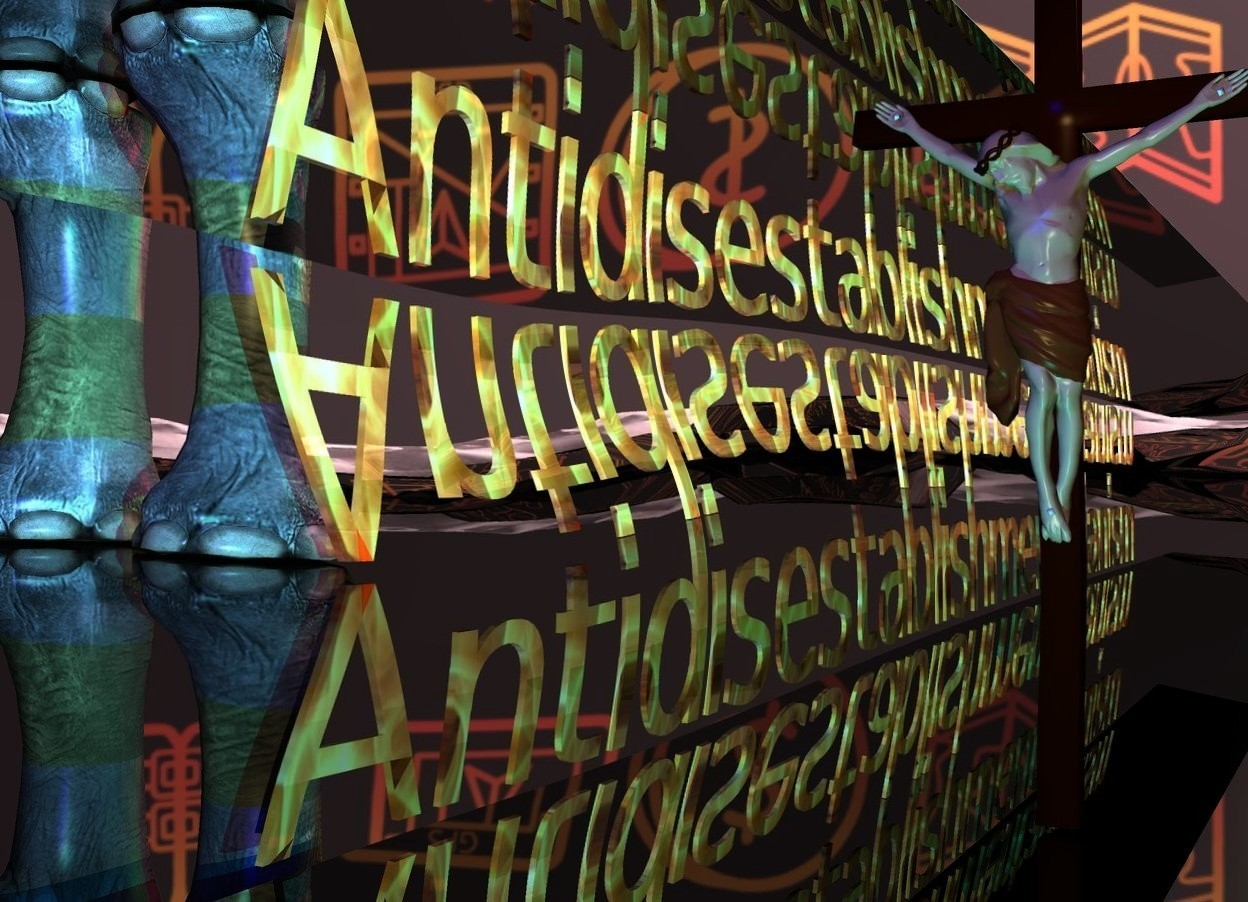 "Input text: The ground is shiny black. A tall narrow shiny texture ""Antidisestablishmentarianism"" is upside down. A very long flat silver wall is 2 inches above and -2 inches behind the ""Antidisestablishmentarianism"". It is leaning 93 degrees to the front. A red light is left of and in front of the wall. A blue light is right of and in front of the wall. A green light is in front of the wall. A large elephant is in front of and -6 feet right of the ""Antidisestablishmentarianism"". It is facing east. The sun is pink. Camera light is khaki. The sky is [castle]. A tiny crucifix is 8.8 feet behind and -62 feet left of the ""Antidisestablishmentarianism"". It is facing east. A cyan light is right of the crucifix."