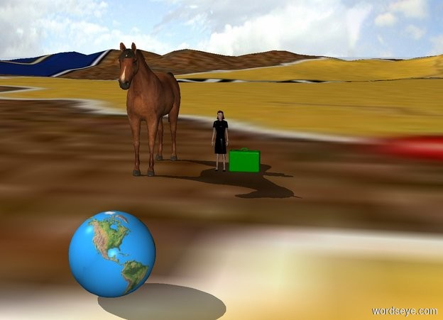 Input text: one small woman is on a map ground. a horse is 2 foot to left of woman. a small    green suitcase on right of woman. the ground is a map. 13 feet in front of woman is a globe.