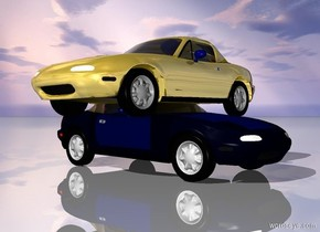 The gold car is -1.4 feet above the car. The gold car is facing left. The ground is shiny.