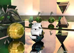 First flat humongous silver wall is leaning 90 degrees to the front. First wall is  20 feet above the ground. Small [van gogh] ship is 10 inches above the  first wall. humongous  golden sphere is 10 feet to the left of the ship. huge dolphin is above the sphere. Dolphin is dark and shiny.  Second humongous silver wall is 10 feet  behind the first wall.    First humongous glass pyramid is to the right of the ship and 1 foot in front of the second wall. The first pyramid is 30 feet above the first wall.The pyramid is leaning 180 degrees to the front. The second humongous glass pyramid is 3 feet under the first pyramid. very Huge green light is 8 feet above the first pyramid.   Third humongous flat silver wall is 10 feet on the left of the sphere. Third wall is facing east. Third wall is very dark.  Fourth humongous flat silver wall is 40 feet on the right of the ship. Fourth wall is facing west.