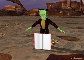 a medium monster is behind a huge book