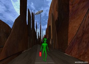 a green alien. a can is -4 inches left of the alien.the can is 1 feet above the ground.the can is -18 inches behind the alien.the alien is leaning 10 degrees to the front. a first path is in front of the alien.the first path is dirt.the first path is 100 feet long.a second path is -2 inches behind the first path.the ground is 125 feet wide.the second path is 200 feet long.a UFO is 200 feet behind the alien. It is 64 feet above the ground. It is leaning 25 degrees to the right.