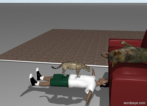 Input text: A person leans 90 degrees to the back. A small jaguar is -0.2 feet above him. The jaguar is facing north. The sofa is 1 foot north of him. The floor is carpet. A coyote is lying on the sofa.