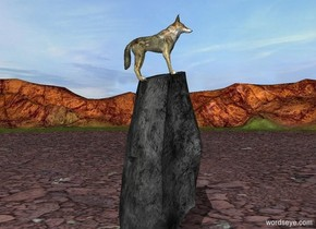 A wolf is -0.8 feet above a 9 foot tall rock. He leans 10 degrees to the back.