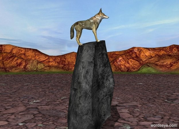 Input text: A wolf is -0.8 feet above a 9 foot tall rock. He leans 10 degrees to the back.