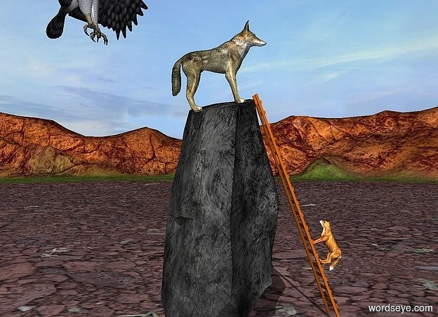Input text: A wolf is -0.8 feet above a 9 foot tall rock. He leans 10 degrees to the back. a 9 feet tall ladder is -1.2 feet in front of the rock. it faces back. it leans 5 degrees to the front. a fox is -1.3 feet in front of the ladder. it faces back. it leans 66 degrees to the back. the fox is 2 feet above the ground. a huge eagle is 1 feet behind and -.9 feet above the wolf