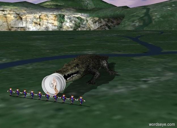 Input text: Alligator behind [help] wheel.  10 miniature clowns 1.8 feet in front of alligator