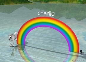 "the enormous lavender worm is several inches in front of the bird. it is facing right. a large ""charlie ""is 1 foot above the small rainbow. a large unicorn is under the rainbow."