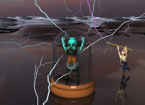 a man is in a 8 feet tall bell jar. 2 aqua lights are -6 inches above and -3 inches in front of the man. 1st huge powder blue lightning bolt is -1.4 feet above and -2.4 feet right of the bell jar. it leans left. 2nd enormous waterfall blue lightning bolt is -1 feet in front of and -2.7 feet above and -6.5 feet left of the bell jar. it leans 38 degrees to the left. it faces back. 3rd huge sky blue lightning bolt is -1.8 feet left of and -1.2 feet in front of and -3 feet above the bell jar . it leans 87 degrees to the right. 4th 8 feet tall sea mist blue lightning is -2 feet right of and -1 feet in front of and -4 feet above the bell jar. it faces right. it leans 56 degrees to the front. the sun is hydrangea blue. a aquamarine light is -5.2 feet above and -4 inches in front of the man. a orange light is 1.2 feet above the aquamarine light. the base of the bell jar is silver. the ground is clear. a boy is 1.7 feet right of and 3.5 feet behind the bell jar. he faces the man. he leans 60 degrees to the back. 1st 4 feet tall staff is -.97 feet above and -5.1 feet right of and -.1 feet in front of the boy. it leans 75 degrees to the right. 5th 14 feet tall violet lightning bolt is -1.5 feet above and -1.9 feet left of the staff. it faces back.it leans 34 degrees to the left. 2nd 4 feet tall green yellow staff is -.1 feet behind and -1.17 feet above the 1st staff. it leans 75 degrees to the right. 6th 16 feet tall sea mist blue lightning bolt is 1 feet in front of the bell jar. it is upside down.it leans 68 degrees to the back. it is -2 feet above the ground. the shirt of the boy is [power]