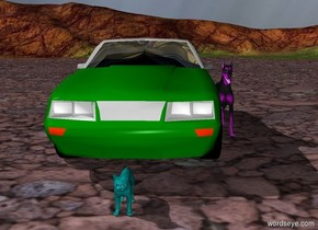 A green car with a purple dog a foot away for it. In front of the car is a teal cat.