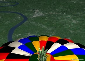 A huge pineapple in a hot air balloon.
