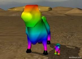 A rainbow cow and a rainbow lion
