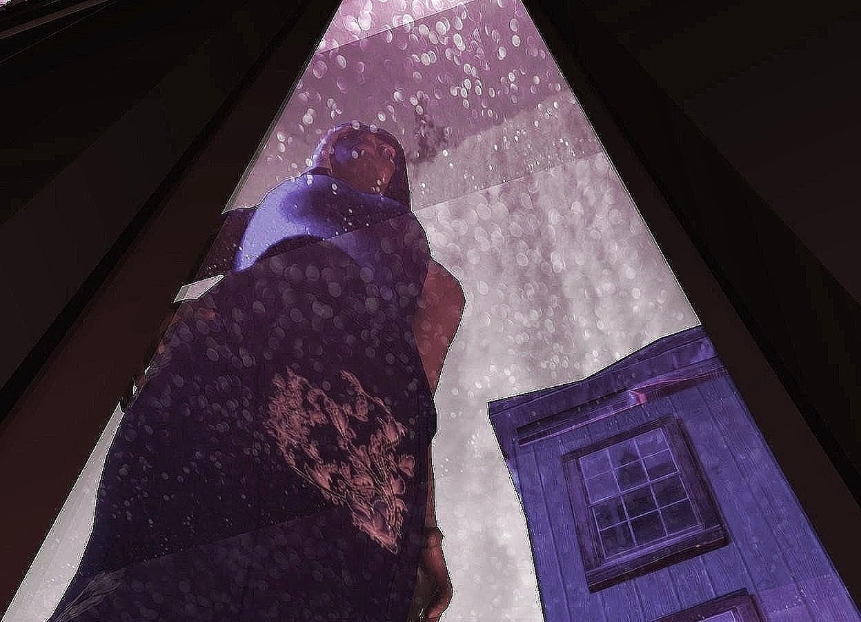 Input text: A navy woman is behind and -4 feet above a dark brown swinging door. She is facing southeast. She is leaning 3 degrees to the front. 2 red lights are right of and below the woman. The sky is 4200 feet wide [mist]. The sun is pink. A wide silver wall is above and -1 feet in front of the door. It is leaning 90 degrees to the back. The ground is 6 feet wide [abstract]. 10 blue lights are 4 feet above the wall. A dark building is 10 feet behind and -5 feet right of the door. Camera light is cream.