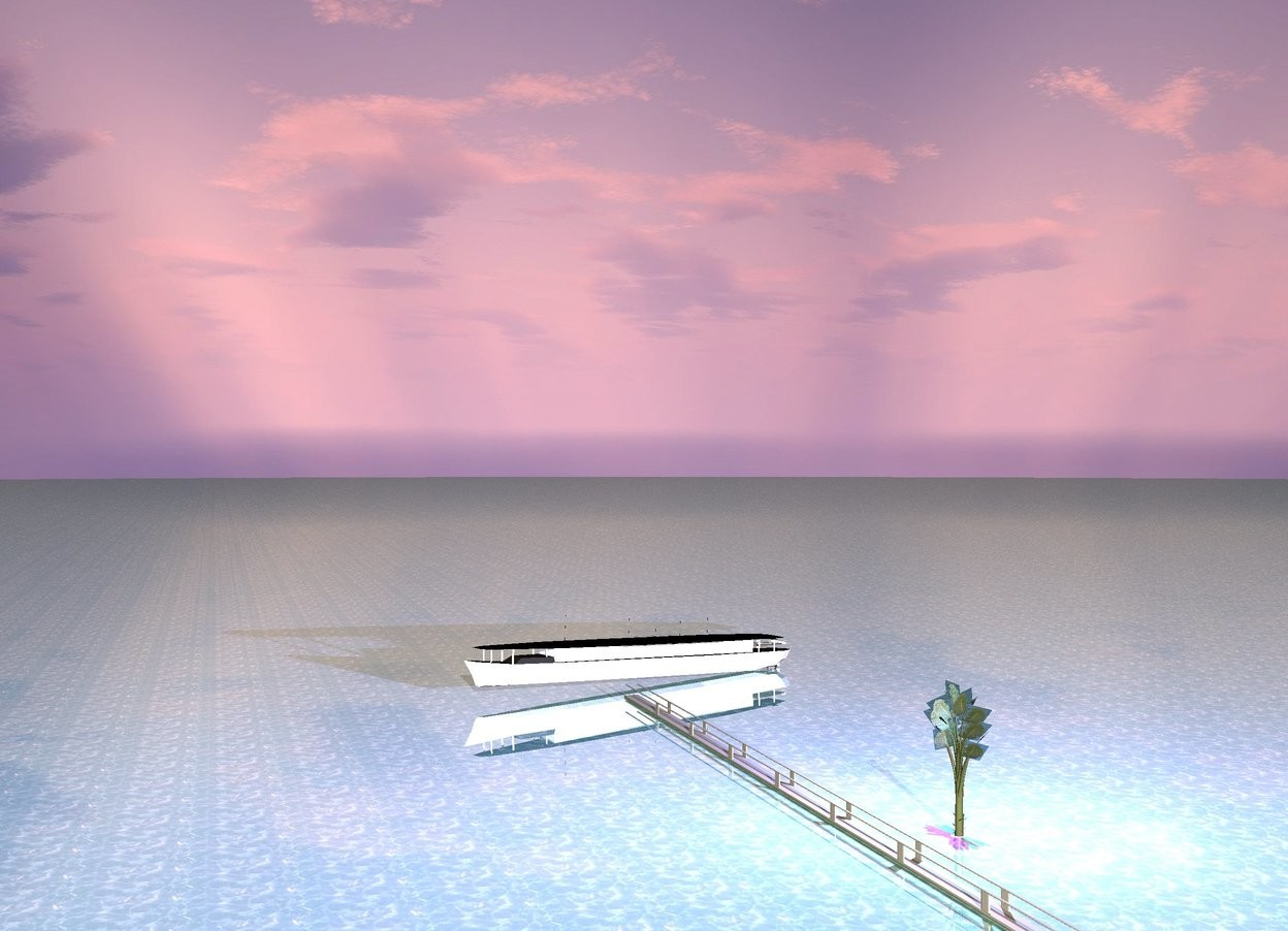 Input text: The sun is pink. The ground is water. It is dawn. The ground is shiny. There is a ship. The ship is white. The ship is 20 meters long. There is a platform. The platform is  60 meters long. A plant is 2 meters behind the platform. A magenta light is above the plant. A cyan light is behind the magenta light.
