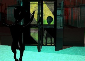 a 60 feet tall revolving door is -1.3 feet above the ground. 1st 30 foot tall black alien is -43 feet right of and -49 feet in front of the door. 3 orange lights are -6 inches above and 5 inches in front of the alien. 5 green lights are 8 inches above the alien. the wall of the revolving door is clear. 2nd 33 feet tall fat black alien is -69 feet right of and -8 feet in front of and -59 feet above the door. the 2nd fat alien faces the 1st alien. 2 cyan lights are -3 inches above and 4 inches behind and -1 feet right of the 2nd fat alien.