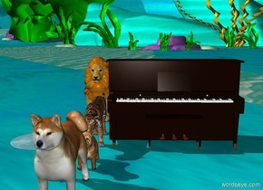 big cats and big dogs next to the piano.In the center of the water.