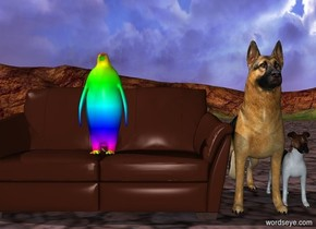 There is an small rainbow bird sitting on an  couch.  dogs  couch. The elephant is an neon blue couch.